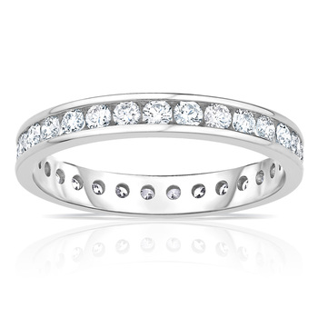 1.00ctw Round Brilliant Cut Channel  Set Diamond Eternity Ring, 18ct White Gold in 6 Sizes
