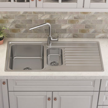Kohler Hone Stainless Steel Sink with Draining Board and Aleo Single-Lever Mixer Tap Bundle - Model C20669-NA