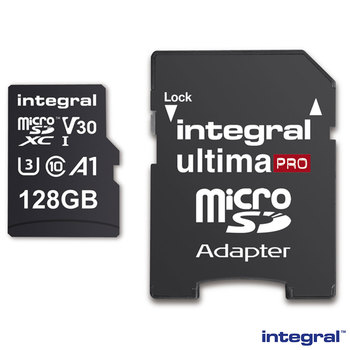Integral 128GB Micro SD Card, MicroSDXC UHS-1 U3 CL10 V30 A1