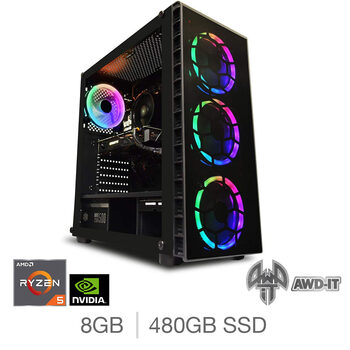 AWD-IT Ranger 5, AMD Ryzen 5, 8GB RAM, 480GB SSD, NVIDIA GTX 1650, Gaming Desktop PC