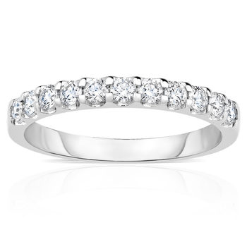 0.50ctw Round Brilliant Cut Diamond Half Eternity Ring, 18 ct White Gold,in 3 Sizes