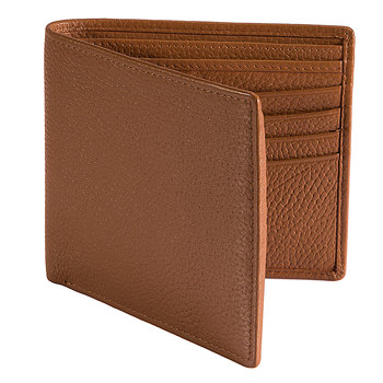 Dents Beauley Pebble Grain Leather Slim Billfold Wallet, Cognac