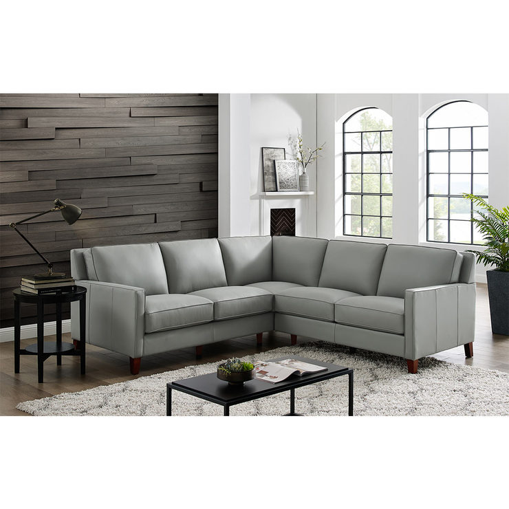 West Park Light Grey Leather Corner Sofa | Costco UK