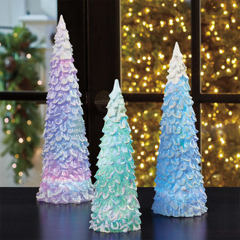 Set of 3 Christmas Trees With Colour Changing LED Lights