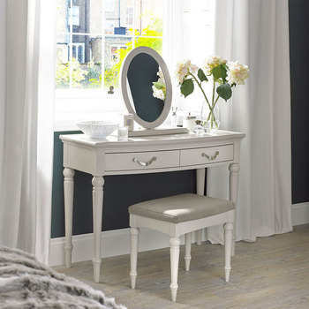 Bentley Designs Montreux Soft Grey Dressing Table, Stool & Mirror