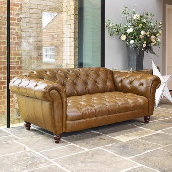 Wellington 2 Seater Semi Aniline Leather Chesterfield Sofa, Caramel