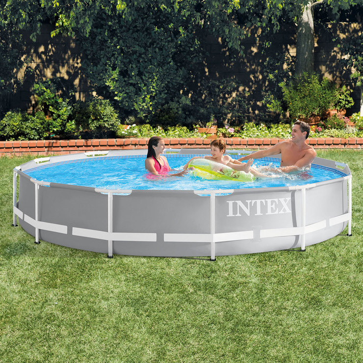 Intex 12ft (3.7m) Round Prism Frame Pool with Pump | Costco UK