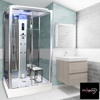 Insignia Diamond 1150 x 850mm Rectangular Steam Shower in 2 Colours
