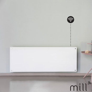 Mill Heat 1.2kW Electric WiFi Controlled Glass Front Panel Heater in White, AV1200WIFI