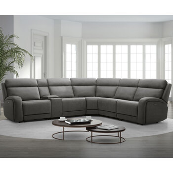 Gilman Creek Paisley Fabric Power Reclining Sectional Sofa with Power Headrests