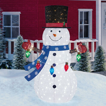 7ft (2.13 m) Indoor/Outdoor Pop Up Christmas Snowman With 335 LED Lights