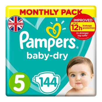 Pampers Baby Dry Nappies Size 5, Monthly 144 Pack