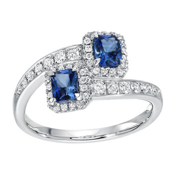 0.78ctw Round Cut Blue Sapphire and 0.31ctw Diamond Ring, 18ct White Gold
