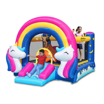 Happy Hop Unicorn Bouncy Castle with Slide and Interactive Hit Me Game (3+ Years)