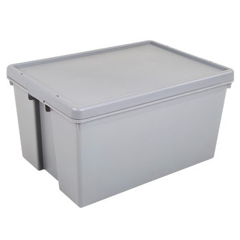 Wham Bam 96 Litre Upcycled Heavy Duty Plastic Storage Box & Lid in Grey - 2 Pack