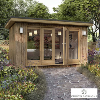 "Installed Crown Pavilions 13ft 1"" x 9ft 10"" (4 x 3m) Hardwood Garden Room, Fully Insulated, Double Glazed and Pre-Wired"