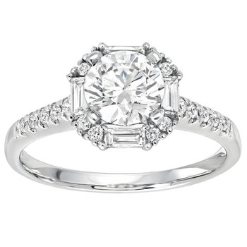 1.27ctw Round Brilliant and Baguette Cut Diamond Engagement Ring, 18ct white Gold