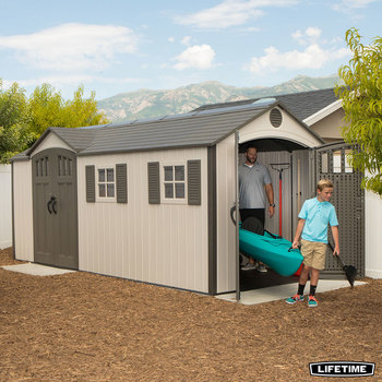 Installed Lifetime 17.5ft x 8ft (5.3 x 2.4m) Dual Entry Outdoor Storage Shed