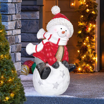 "2ft 2"" (66.4cm) Christmas Snowman On Snowball Greeter"