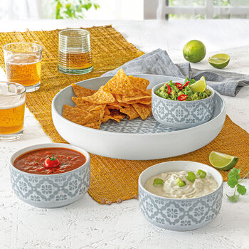 Over & Back Stoneware Chip and Dip 4 Piece Serving Set