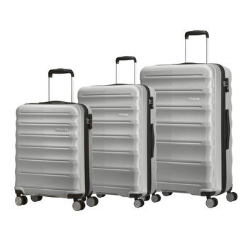 American Tourister Speedlink 3 Piece Hardside Suitcase Set in Silver
