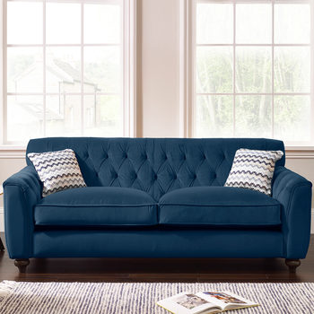 Avante Button Back 3 Seater Velvet Sofa with 2 Accent Pillows, Indigo Blue