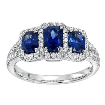 1.65ctw Radiant Cut Blue Sapphire and 0.29ctw Diamond Ring, 18ct White Gold