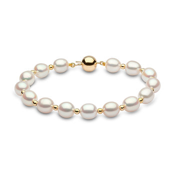 8-8.5mm Cultured Freshwater White Oval Pearl and Gold Bead Bracelet, 18ct Yellow Gold