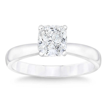 1.0ct Cushion Cut Diamond Ring, Platinum