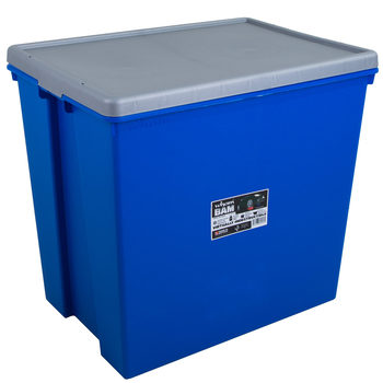 Wham Bam 154 Litre Heavy Duty Plastic Storage Box & Lid in Blue/Silver - 2 Pack