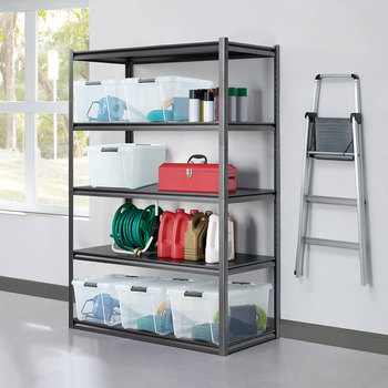 Shelve in a garage setting with neutral walls