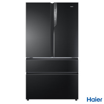 Haier HB25FSNAAA, American Style Fridge Freezer A++ Rating in Black
