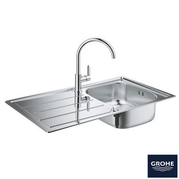 GROHE K200 Stainless Steel Sink and Bau Single-Lever Mixer Tap Bundle in Chrome - Model 31562SD0