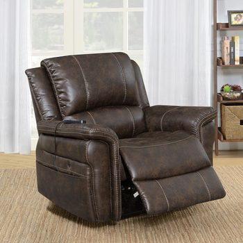 Fabric Power Recliner with Built in Heat and Massage