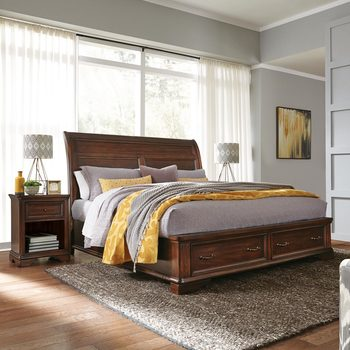 Universal Broadmoore Crosby King Bed Frame with 2 Drawers
