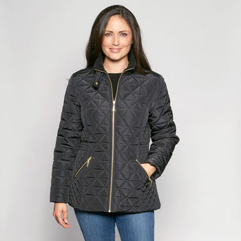 David Barry Women's Diamond Stitched Jacket Available in Black