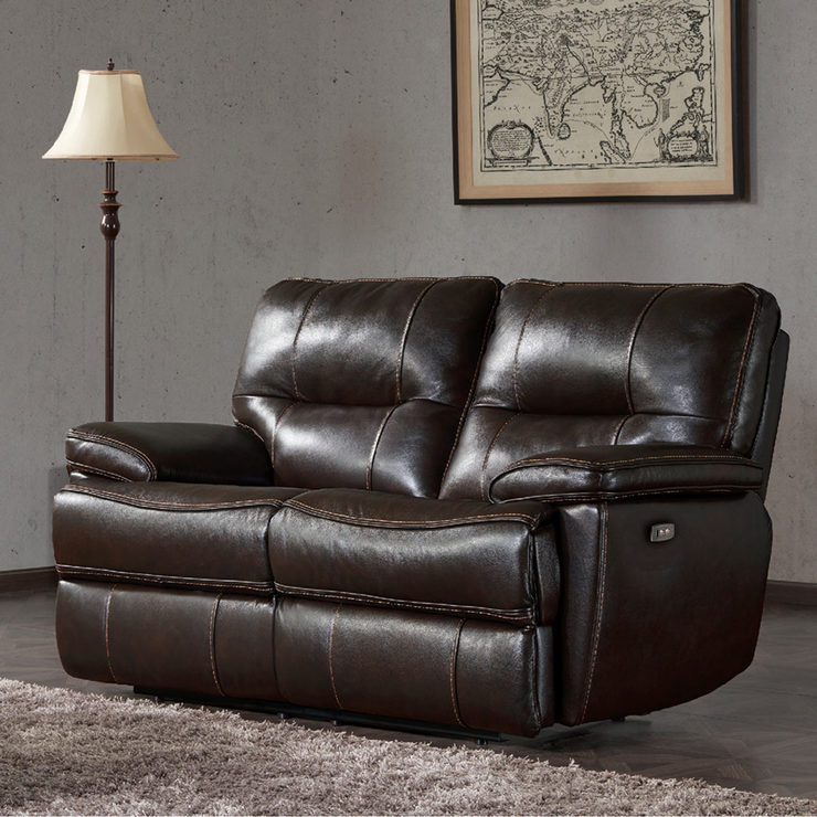 Kuka 2 Seater Brown Leather Power Recliner Sofa