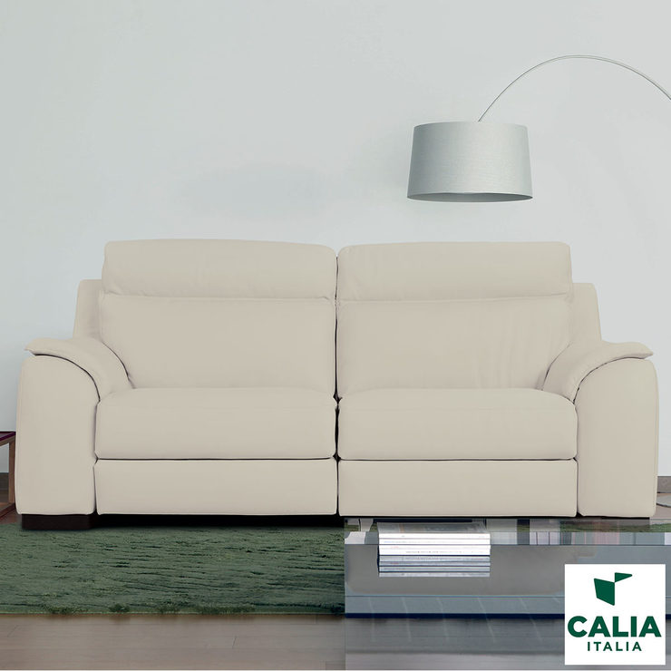 Calia Italia Cream Italian Leather Serena 3 Seater Power