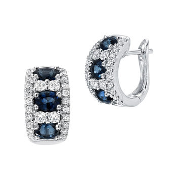 1.25ctw Oval Blue Sapphire and 0.45ctw Diamond Hoop Earrings, 18ct White Gold