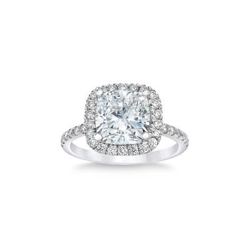 3.50ctw Cushion Cut Halo Diamond Ring, Platinum