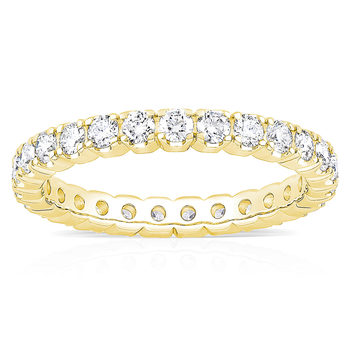 1.00ctw Round Brilliant Cut Claw Set Eternity Ring, 18ct Yellow Gold in 6 Sizes