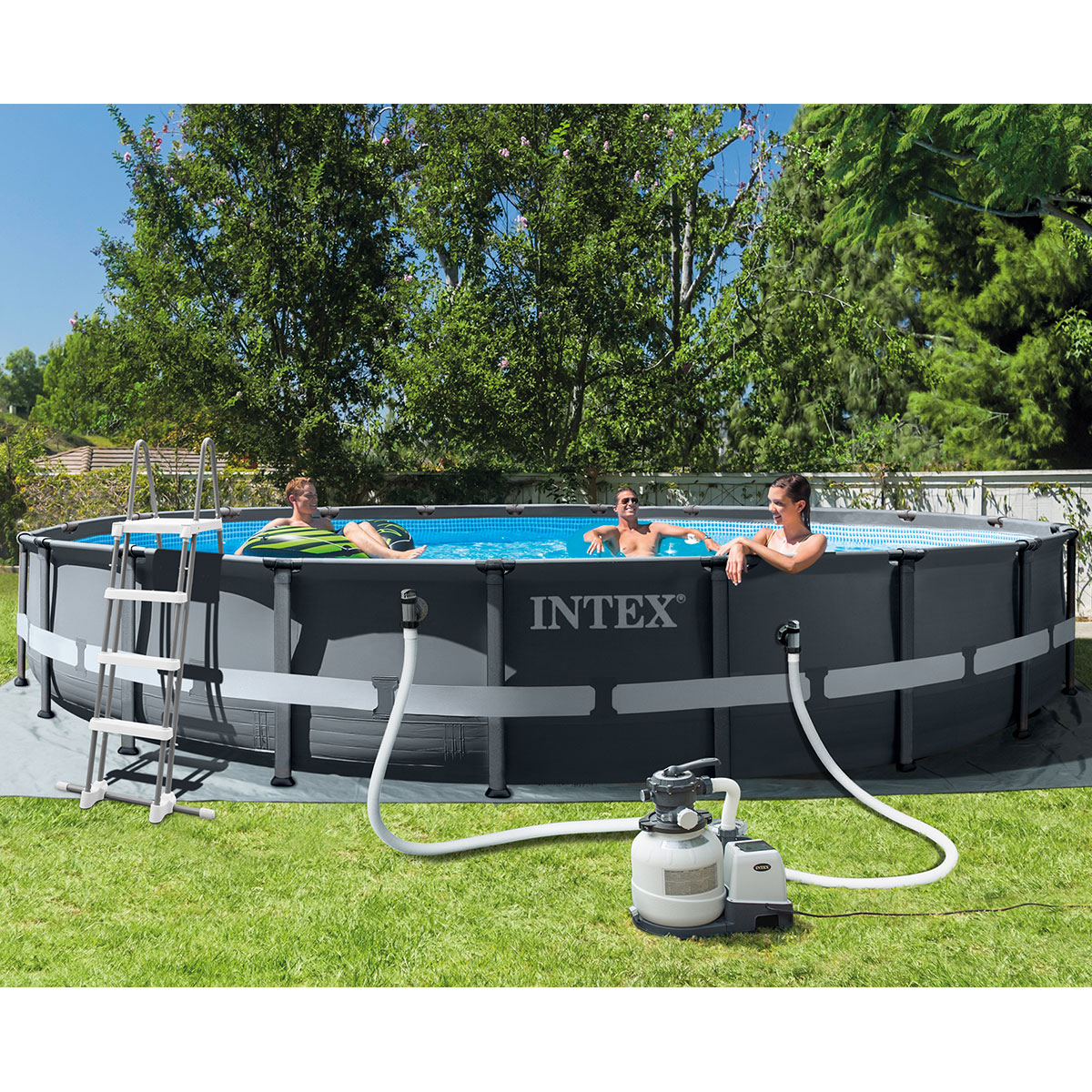 "Intex 20ft (6.1m) x 48"" (1.2m) XTR Round Ultra Frame Pool with Pump, Ladder and Accessories"