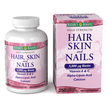 Nature's Bounty High Strength Hair, Skin & Nails Food Supplement, 250 Coated Caplets