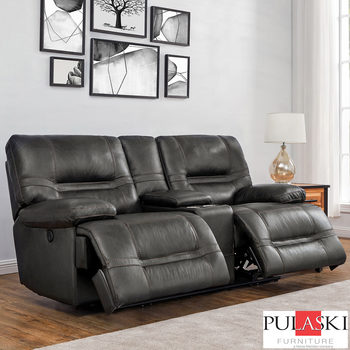 Pulaski Tessa 2 Seater Grey Leather Power Recliner Sofa