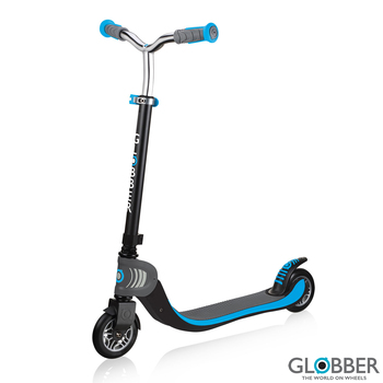 Globber Flow Foldable 125 Scooter in Black/Sky Blue (6+ Years)