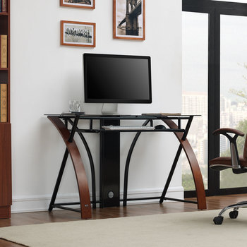 Accord Concept CED-301 Espresso Curved Wood & Glass Home Office Desk