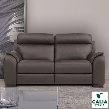 Calia Italia Serena 2 Seater Power Recliner Grey Italian Leather Sofa