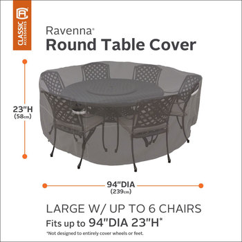 Classic Accessories Ravenna Large Round Patio Table and Chair Set Cover
