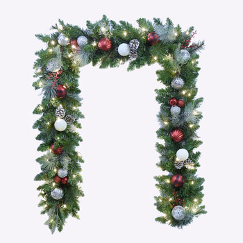 9ft (2.7m) Pre-Lit Decorated Artificial Garland With 90 LED Lights