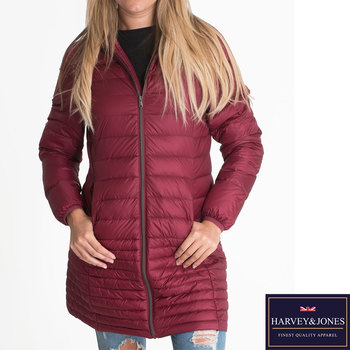Harvey & Jones Marilyn Women's Ultra Lightweight Long Length Hooded Down Jacket in 3 Colours and 5 Sizes